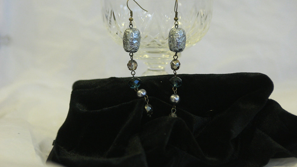 Silvery and smokey metal drop earring