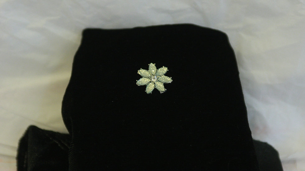 Ice blue flower pin