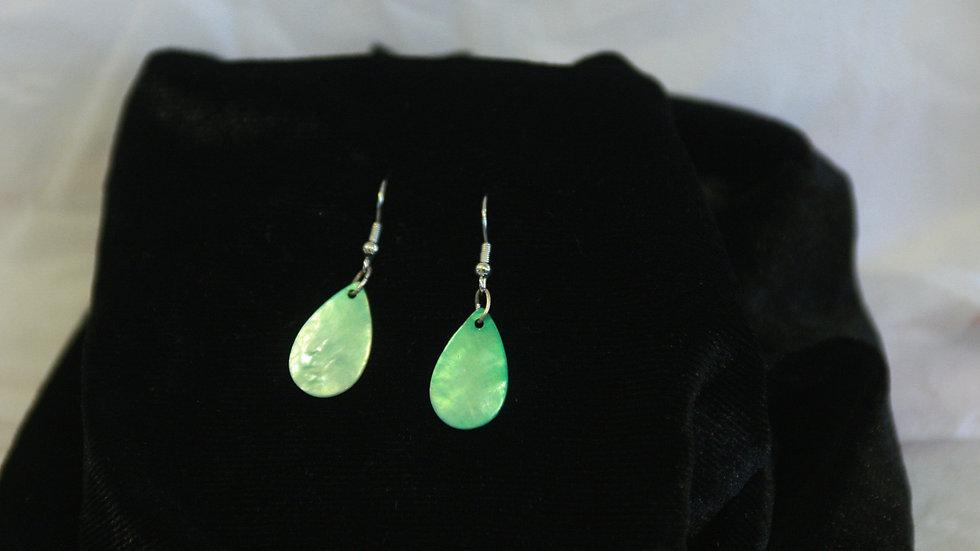 Teal shell drop earring