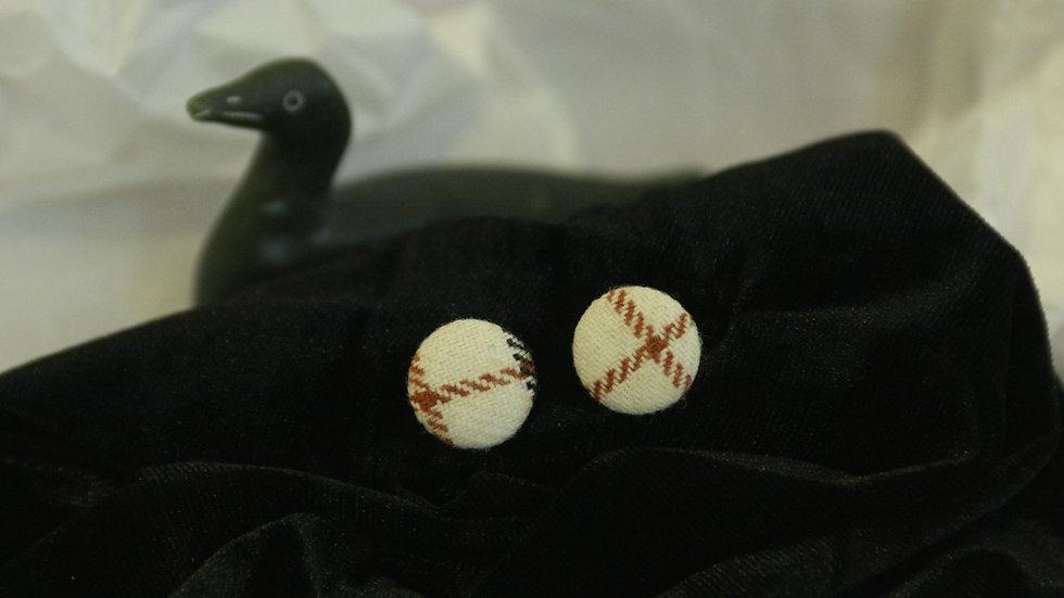 Cream  check fabric button