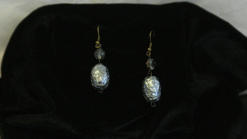 Silver smokey crystal bead
