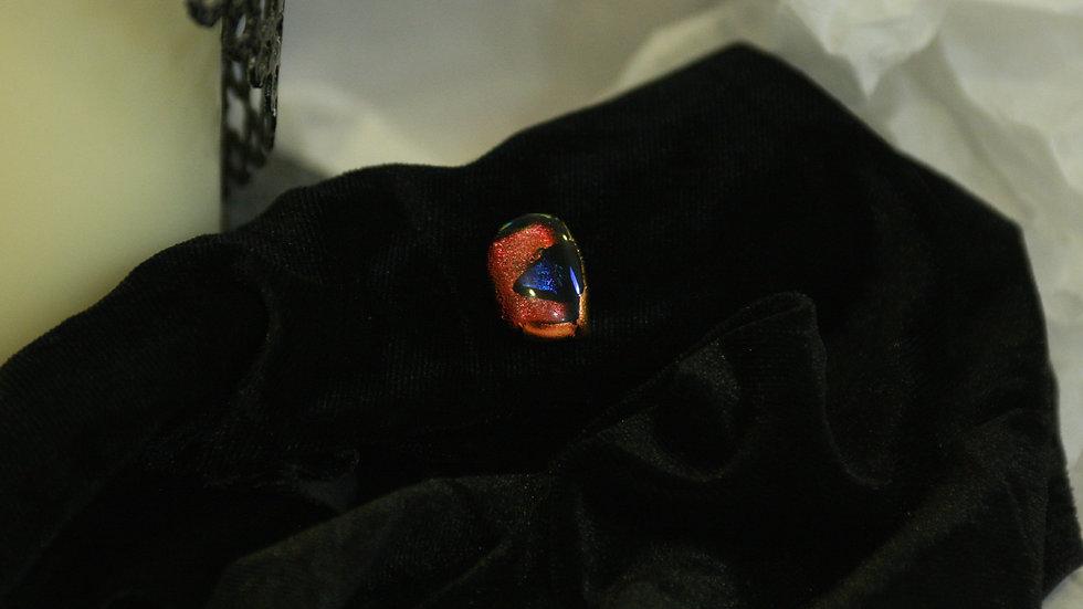 Orange & Black small glass pin