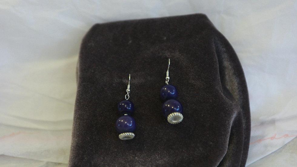 Purple bead drop earring