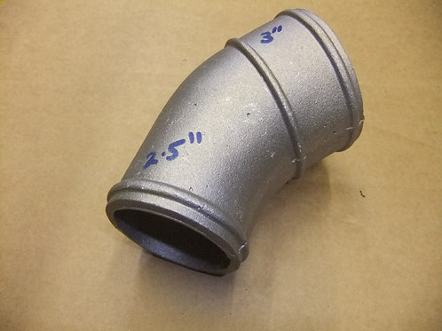 "Cast alloy elbow 45* 2.5"" to 3"" O/D"