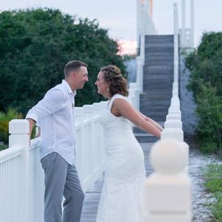 beach walkover photo carillon wedding bride and groom