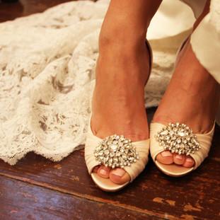 stunning bride wedding shoes florida wedding photographer rhinestone satin heels