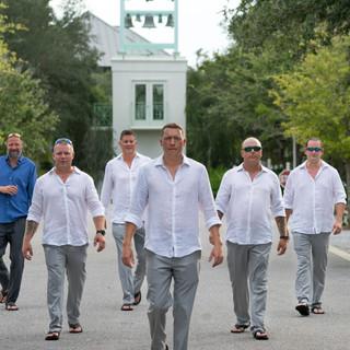 groomsmen and groom natural lighting photography at carillon florida
