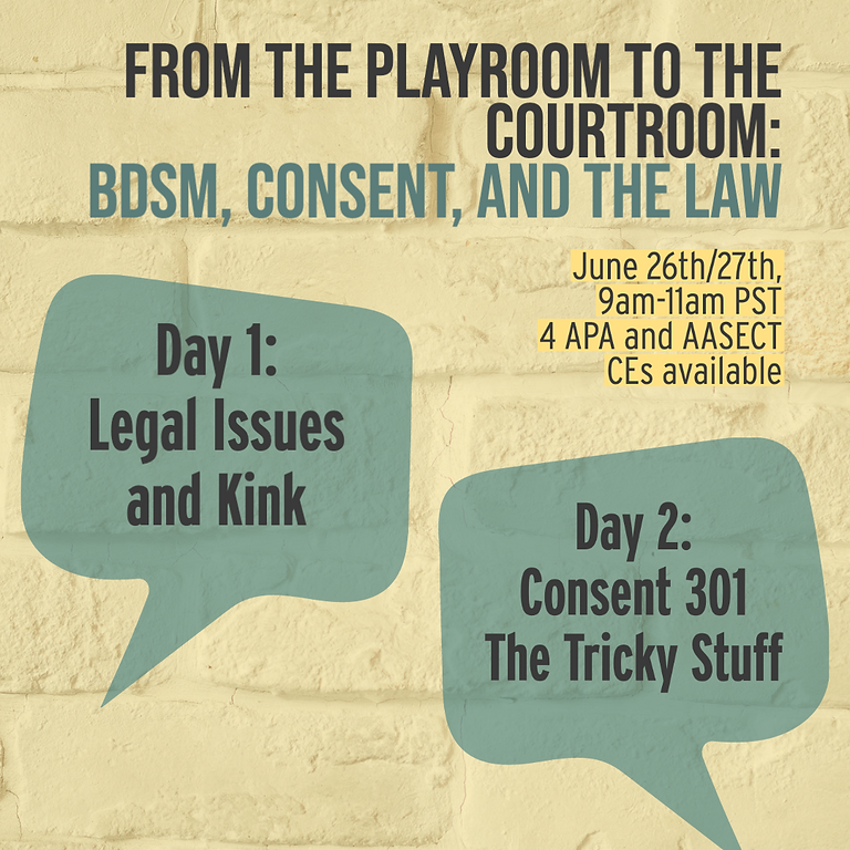 From the Playroom to the Courtroom: BDSM, Consent, and the Law