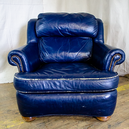 Blue Plush Leather Armchair