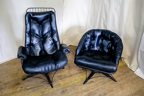 Black Leather Wire Frame Chairs