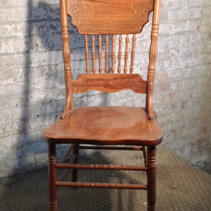 2 in stock wooden, antique, armless, brown, dining room chair