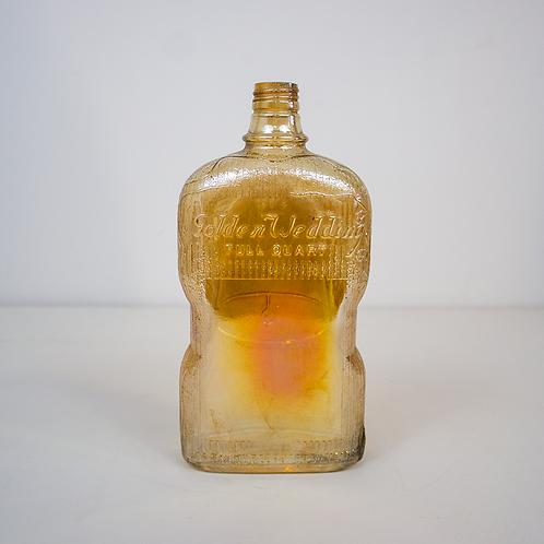 """Golden Wedding"" Iridescent Glass Bottle"