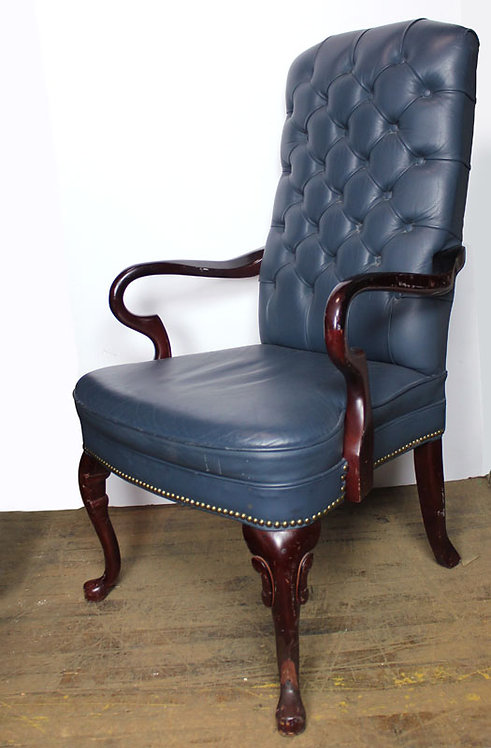 Blue Leather Tufted Chair