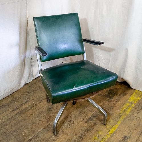 Green Vinyl Chair with Metal Arms