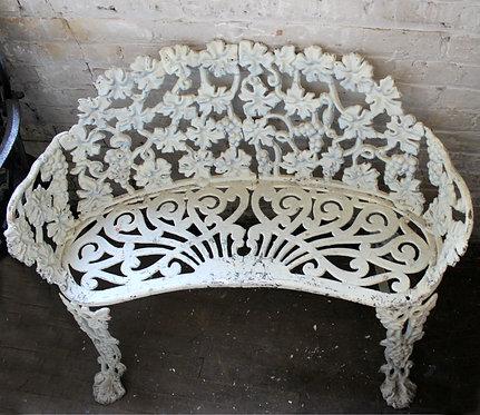 White Wrought Iron Garden Bench
