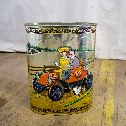 Vintage Automobiles Double Sided Gold Trash Can