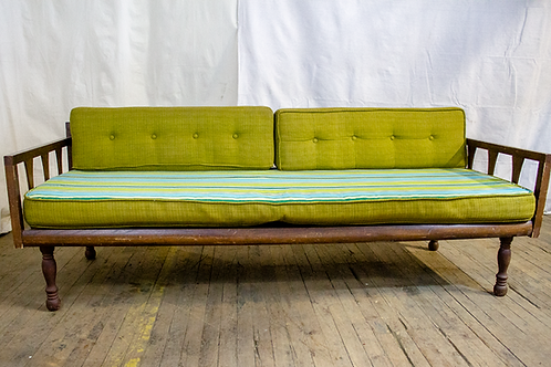 Green Striped Couch with Wood Frame