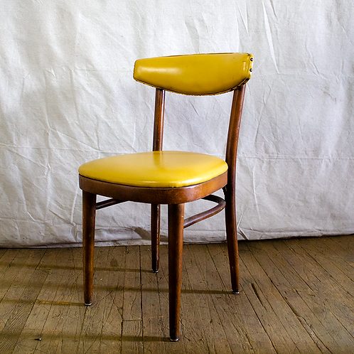 Yellow Leather and Wood Chair