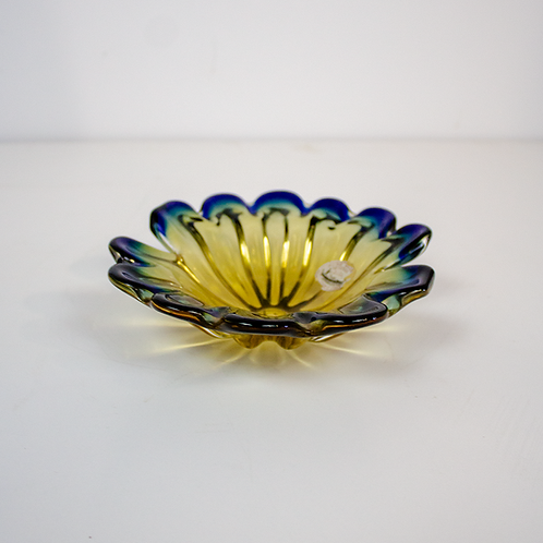 Blue and Yellow Flower Dish