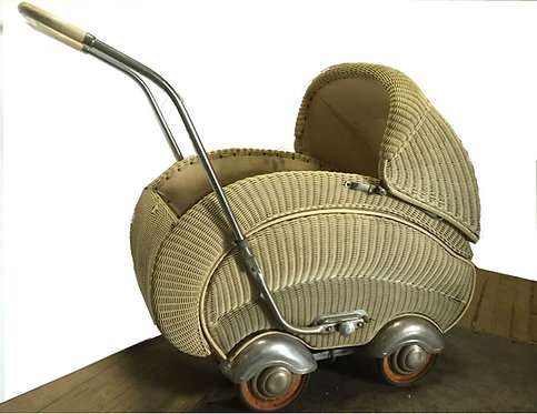 Antique Wicker Pram Baby Carriage
