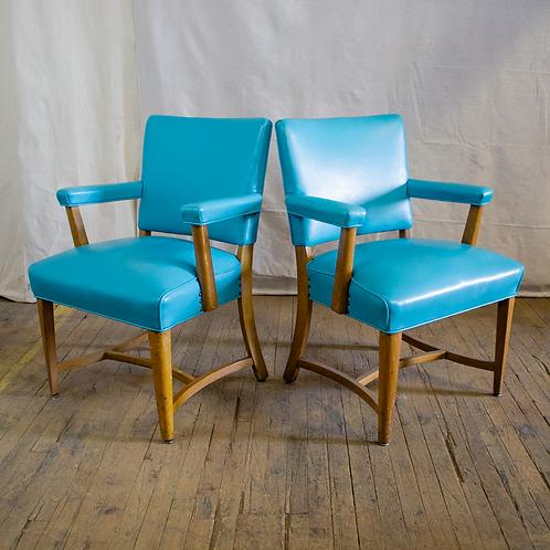 Aqua Blue and Wood Armchairs