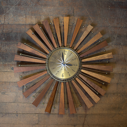 Wooden Atomic Sunburst Wall Clock