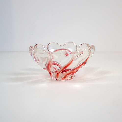 Red and Clear Glass Petal Bowl