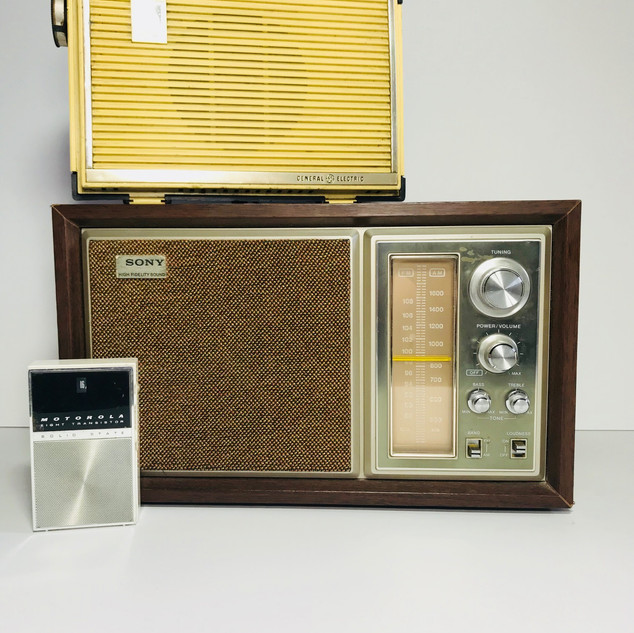 Motorola (front left) General Electric (top right) Sony (bottom right) Radio