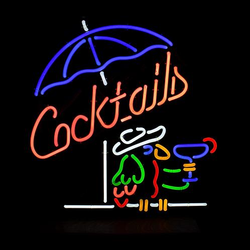 Cocktails Parrot Multicolor Neon Sign