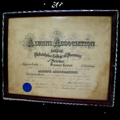 Certificate for Philadelphia College of Pharmacy