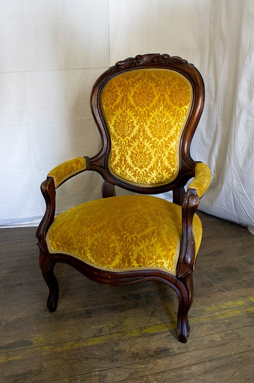 Yellow Velvet Chair with Arms