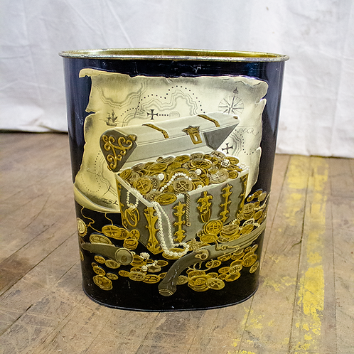 Pirate's Treasure Themed Metal Trash Can