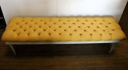 Yellow Tufted Cushion Bench