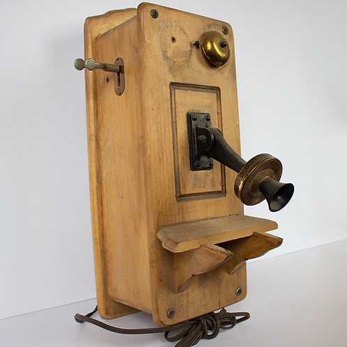 Side View of Picture Frame Front Antique Wood Telephone