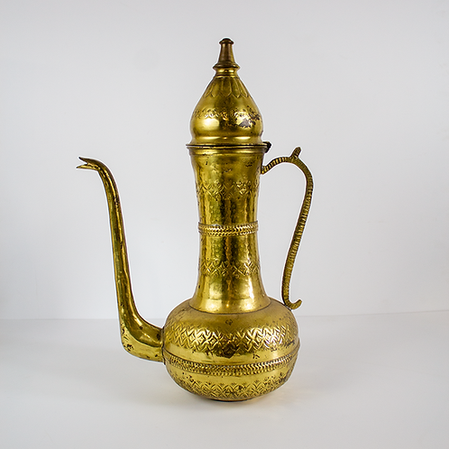 Tall Thin Etched Brass Teapot