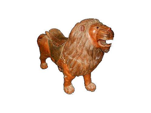 Antique Wooden Carousel Lion