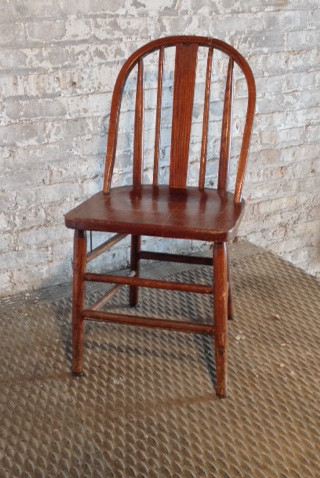 4 in stock Cherry wood colored, wooden, arch back armless chair