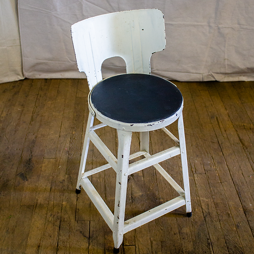 White Short Metal Stool with Black Seat