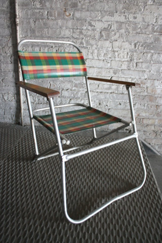 Plaid Folding Lawn Chair