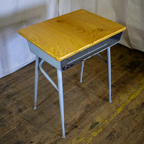 Blue Wood Top School Desk