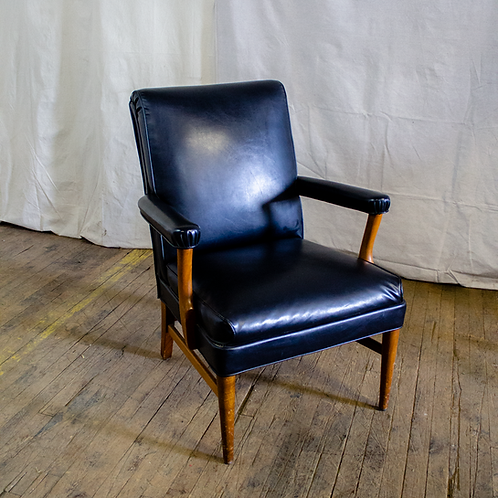 Black Leather and Wood Armchair