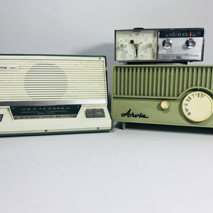 Mitsubishi (left) General Electric clock radio (top right) Arvin (bottom right) Radios