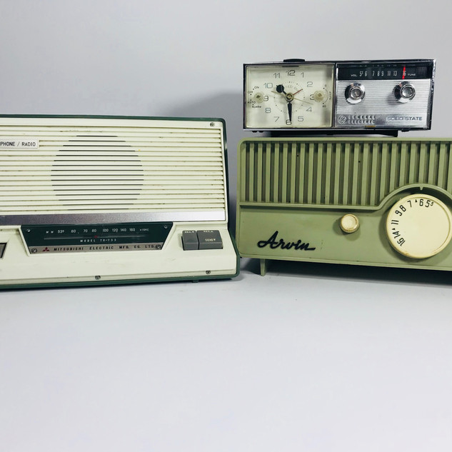 Mitsubishi (left) General Electric clock radio (top right) Arvin (bottom right) Radios