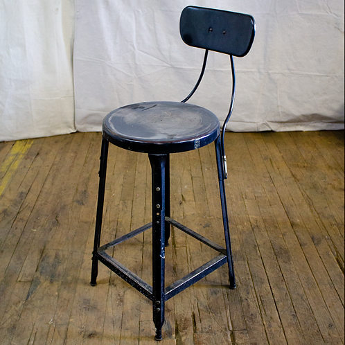 Black Metal Stool with Back