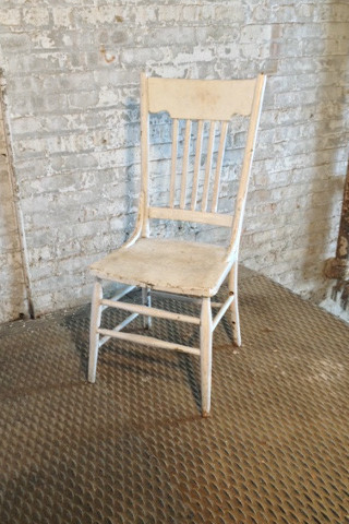 1 in stock  White, high back, armless, wooden chair