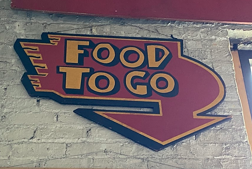 """Red Downward Pointing Arrow """"FOOD TO GO"""""""