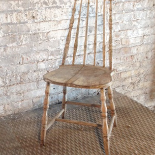 1 in stock  Tall, arch back, armless, light wood, antique dining room, kitchen chair