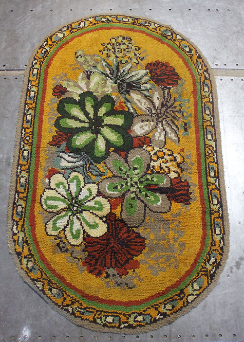 #32 Yellow Oval Floral Rug