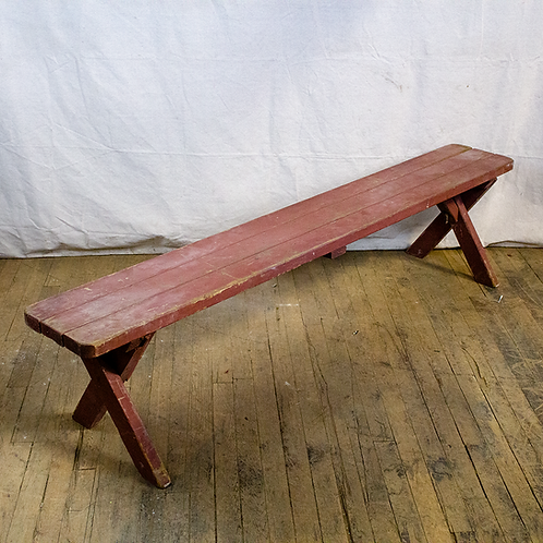 Long Red Bench