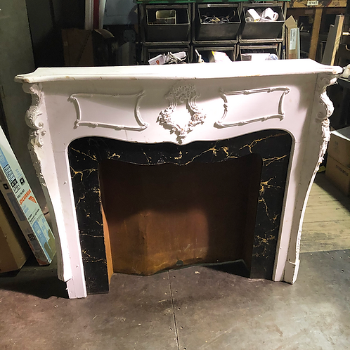 Ornate White Fireplace Mantel